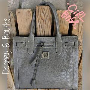 Dooney & Bourke Grey Pebbled Leather Tassel Tote